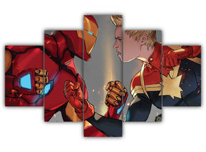 Multi Panel Iron Man Vs. Captain America Split Grouped Wall Canvas Art