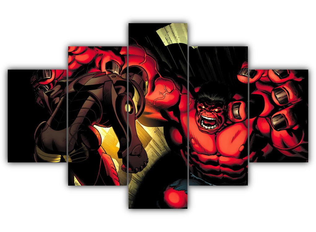 Multi Panel Iron Man and Hulk Split Grouped Wall Canvas Art