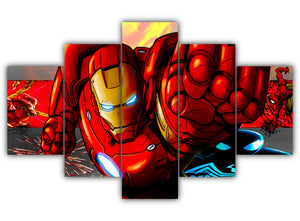 Multi Panel Iron Man and Spider Man Split Grouped Wall Canvas Art