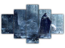 Load image into Gallery viewer, Multi Panel Jon Snow and Ghost Split Grouped Wall Canvas Art
