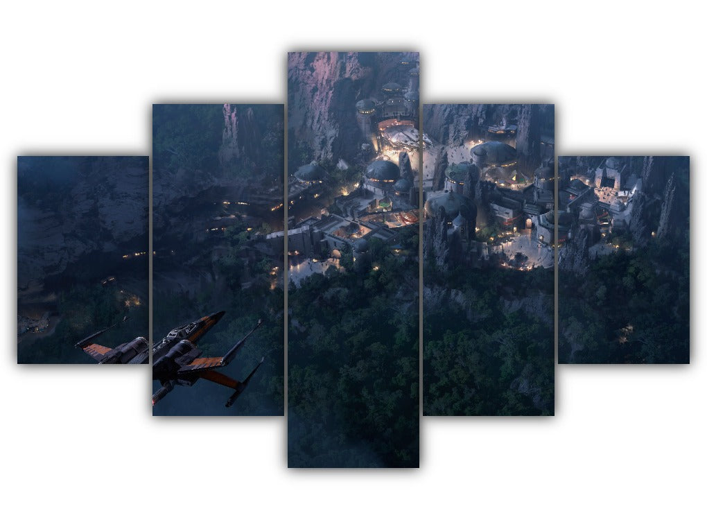Multi Panel Landing to Coruscant Split Grouped Wall Canvas Art
