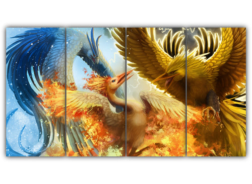 Multi Panel Legendary Pokemon Split Grouped Wall Canvas Art