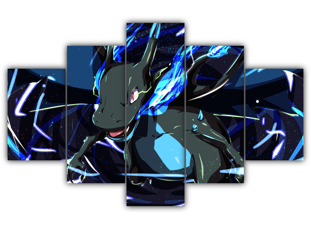 Multi Panel Mega Charizard X Split Grouped Wall Canvas Art