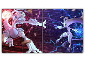 Multi Panel Mega Mewtwo X and Y Split Grouped Wall Canvas Art