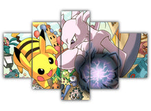 Load image into Gallery viewer, Multi Panel Mega Mewtwo y Vs. Pikachu Split Grouped Wall Canvas Art