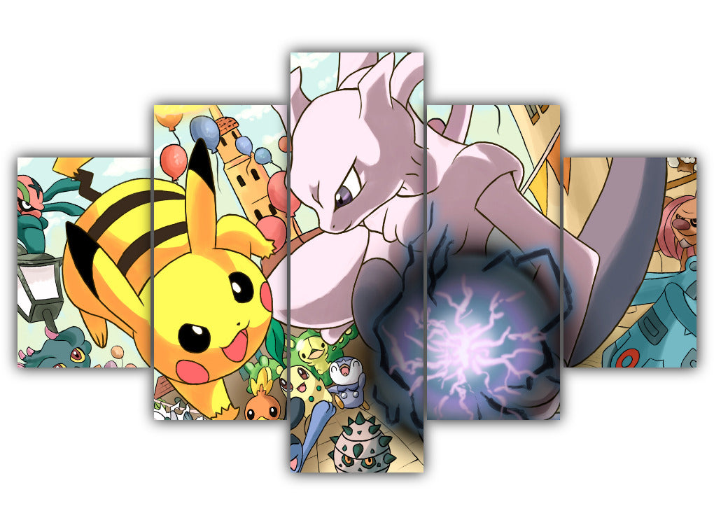 Multi Panel Mega Mewtwo y Vs. Pikachu Split Grouped Wall Canvas Art