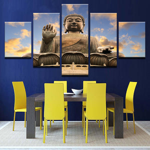 Multi Panel Buddha Statue Clouds Split Grouped Wall Canvas Art
