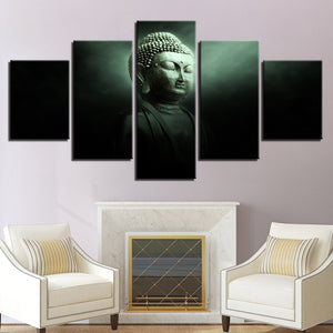 Multi Panel Dark Meditating Buddha Split Grouped Wall Canvas Art