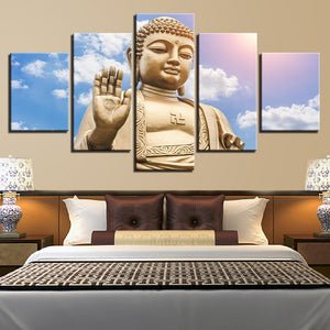 Multi Panel Buddha Statue Split Grouped Wall Canvas Art