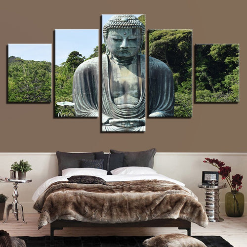 Multi Panel Buddha Nature Forest Split Grouped Wall Canvas Art