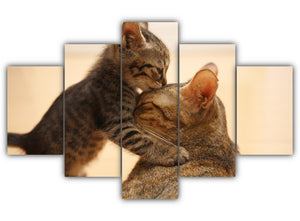 Multi Panel Mommy Cat and Kitten Split Grouped Wall Canvas Art