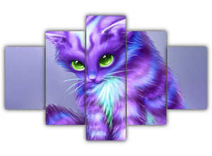 Multi Panel Mystique Purple Cat Split Grouped Wall Canvas Art