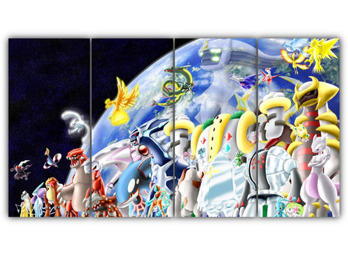 Multi Panel Mythical and Legendary Pokemon Split Grouped Wall Canvas Art