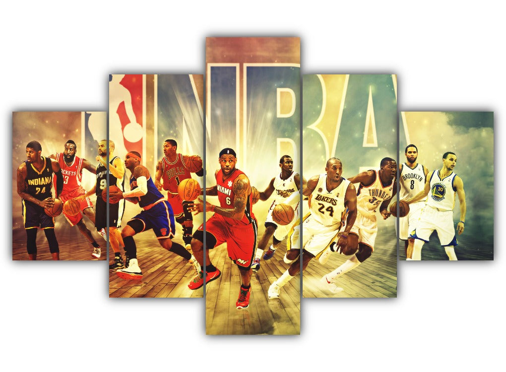 Multi Panel NBA Legends Split Grouped Wall Canvas Art