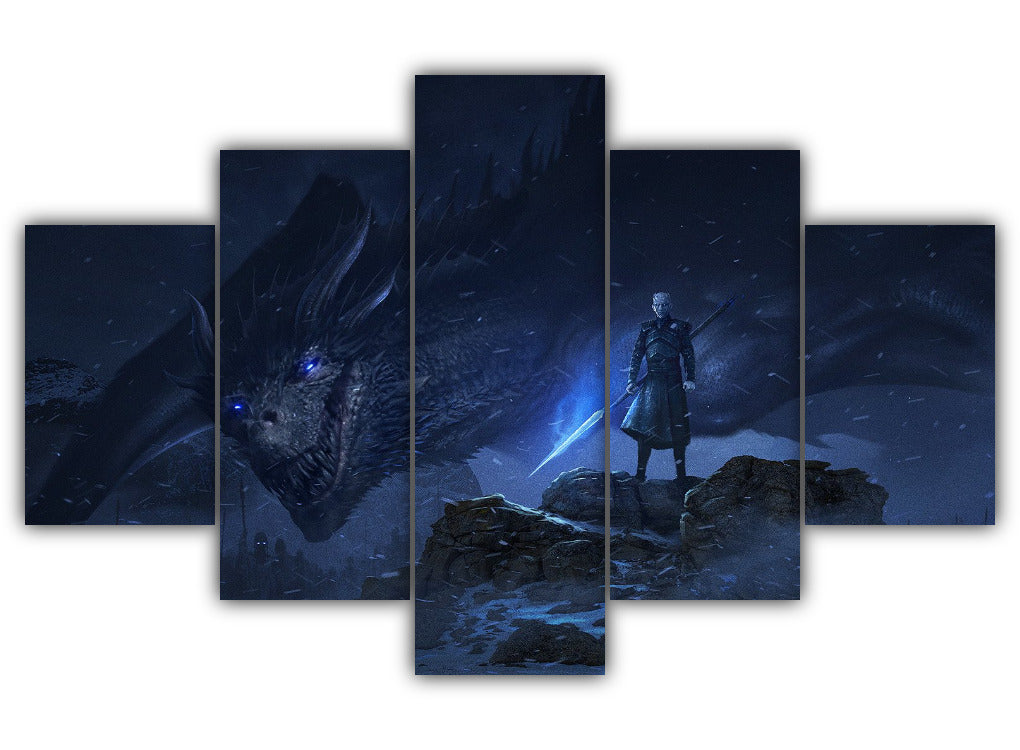 Multi Panel Night King And The Ice Dragon Split Grouped Wall Canvas Art