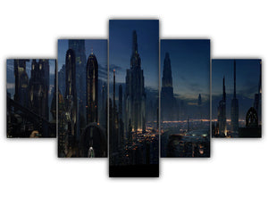 Multi Panel Night Life In Coruscant Split Grouped Wall Canvas Art