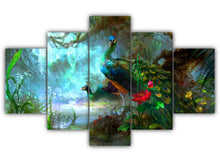 Load image into Gallery viewer, Multi Panel Peafowls Split Grouped Wall Canvas Art