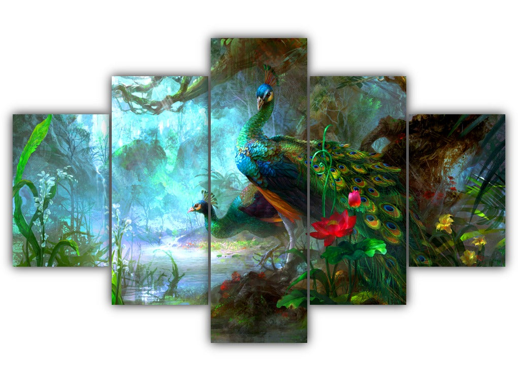 Multi Panel Peafowls Split Grouped Wall Canvas Art