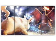 Load image into Gallery viewer, Multi Panel Pikachu Vs Charizard Split Grouped Wall Canvas Art