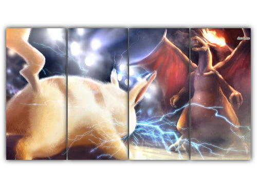 Multi Panel Pikachu Vs Charizard Split Grouped Wall Canvas Art