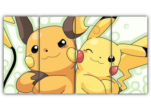 Multi Panel Pikachu and Raichu Split Grouped Wall Canvas Art