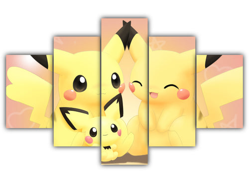 Multi Panel Pikachu family Split Grouped Wall Canvas Art