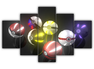Multi Panel Pokeballs Split Grouped Wall Canvas Art