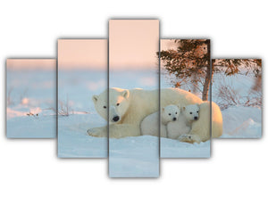 Multi Panel Polar Bear Family Split Grouped Wall Canvas Art