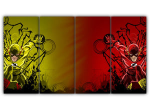 Multi Panel Reverse flash Vs. Flash Split Grouped Wall Canvas Art