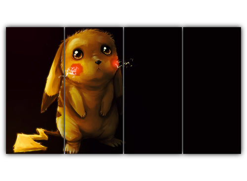 Multi Panel Sad Pikachu Split Grouped Wall Canvas Art