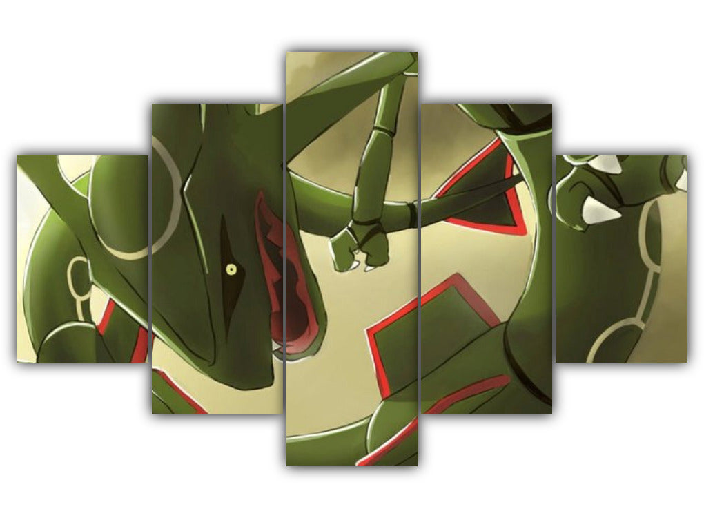 Multi Panel Scary Rayquaza Split Grouped Wall Canvas Art