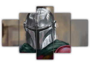 Multi Panel Shiny Armored Mando Split Grouped Wall Canvas Art