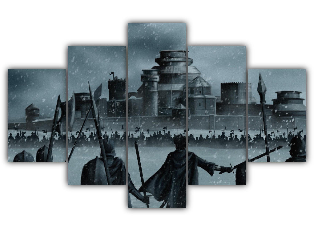 Multi Panel Siege Of Winterfell Split Grouped Wall Canvas Art