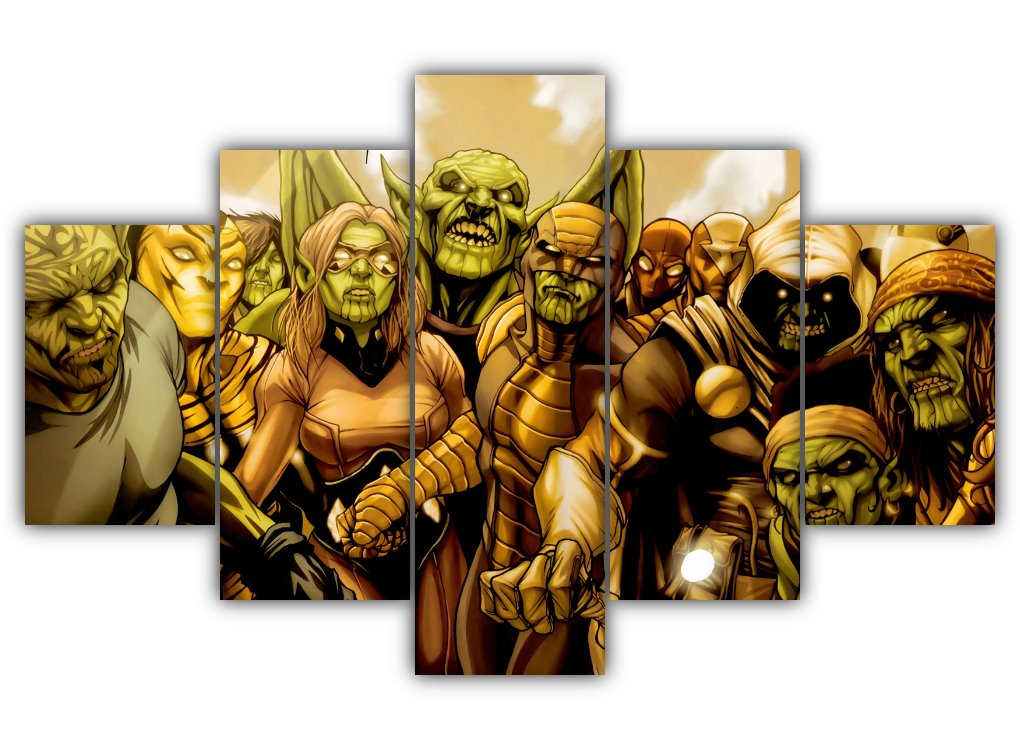 Multi Panel Skrulls Secret Invasion Split Grouped Wall Canvas Art