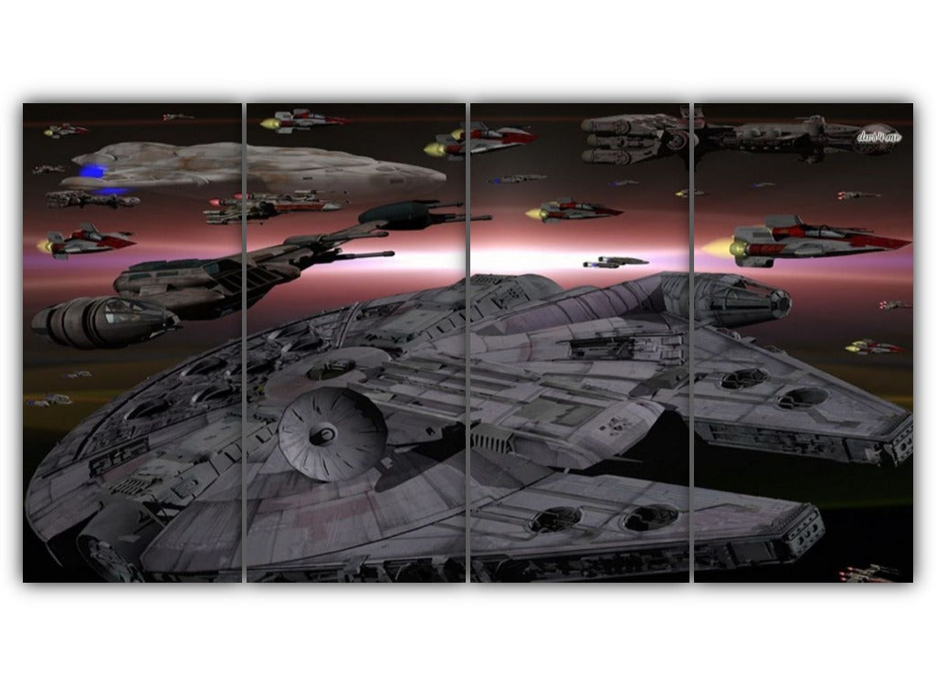 Multi Panel Space Ships of Star Wars Split Grouped Wall Canvas Art
