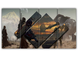 Multi Panel Star Wars Boba Fett Split Grouped Wall Canvas Art
