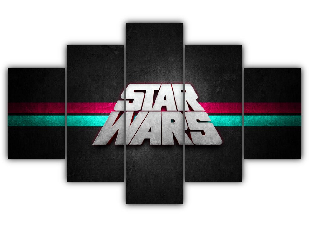 Multi Panel Star Wars Typography Split Grouped Wall Canvas Art