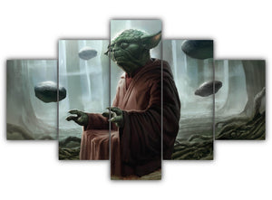 Multi Panel Star Wars Yoda Split Grouped Wall Canvas Art