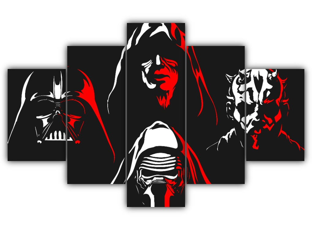 Multi Panel Star Wars enemies Split Grouped Wall Canvas Art