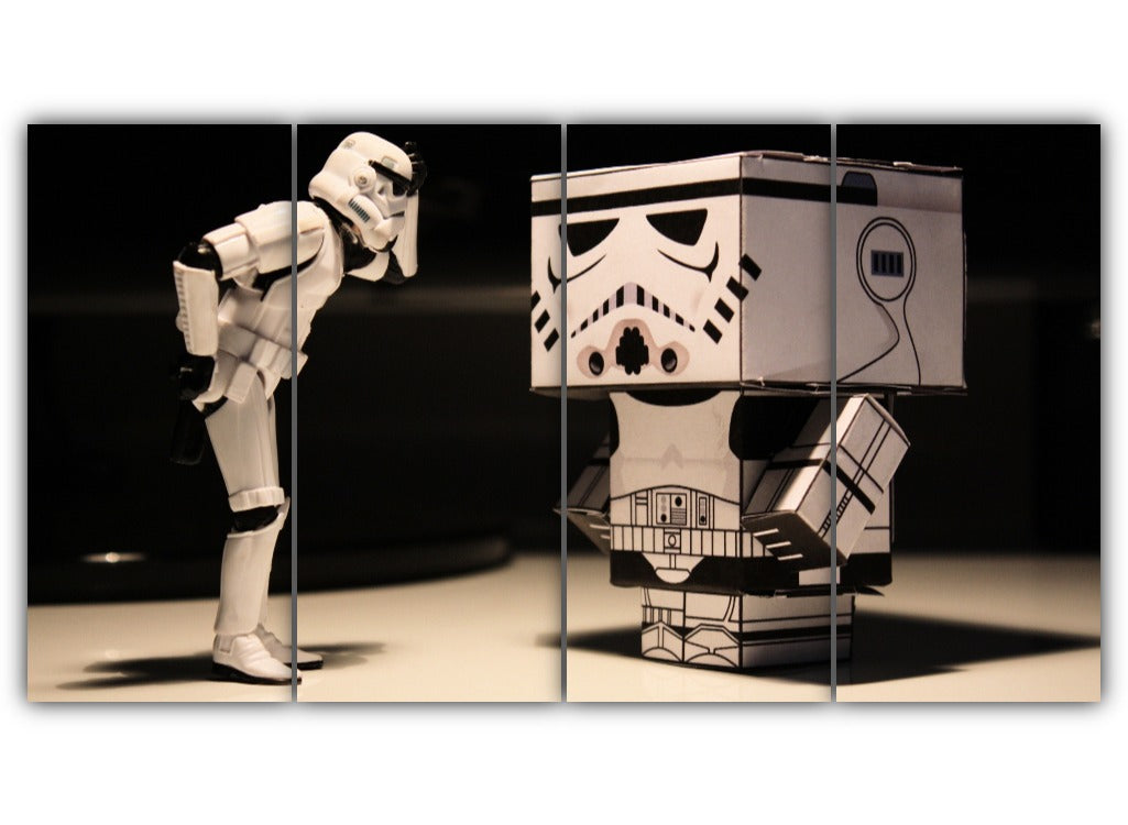 Multi Panel Storm Trooper Vs Cardboard Split Grouped Wall Canvas Art