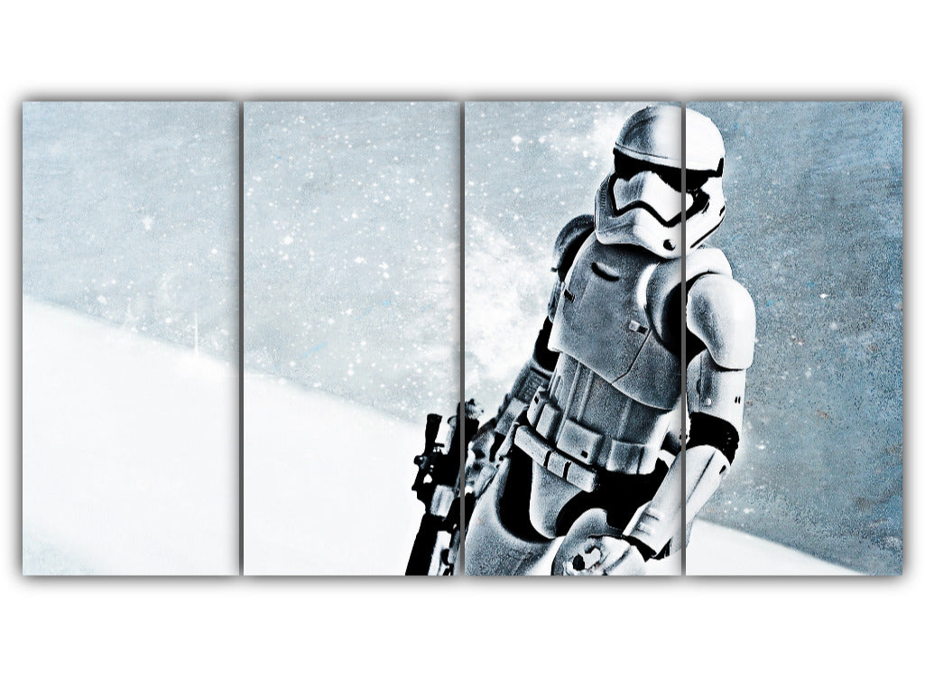 Multi Panel Stormtrooper In Snow Split Grouped Wall Canvas Art