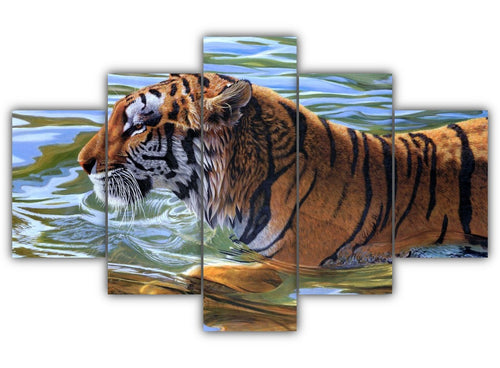 Multi Panel Swimming Tiger Split Grouped Wall Canvas Art