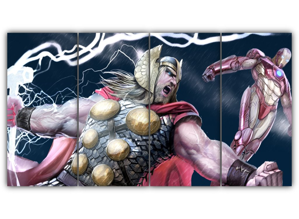 Multi Panel Thor And Iron Man Split Grouped Wall Canvas Art