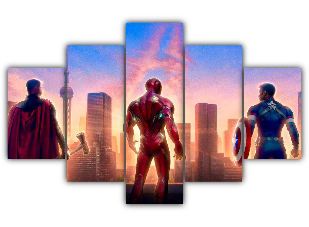 Multi Panel Thor Iron Man Captain America Split Grouped Wall Canvas Art