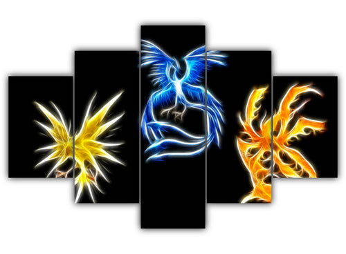 Multi Panel Three Mystical Pokemon Split Grouped Wall Canvas Art
