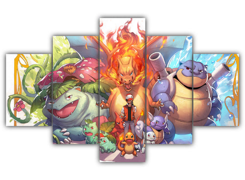 Multi Panel Transformed Pokemon Split Grouped Wall Canvas Art