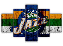 Load image into Gallery viewer, Multi Panel Utah Jazz Logo Split Grouped Wall Canvas Art