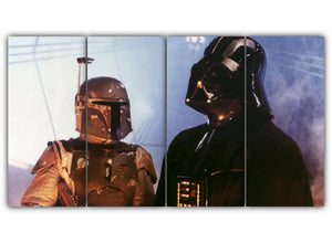 Multi Panel Vaders Meets Boba Fett Split Grouped Wall Canvas Art