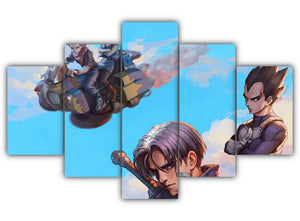 Multi Panel Vegeta Future Trunks and Androids Split Grouped Wall Canvas Art