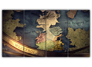 Multi Panel Westeros Map Split Grouped Wall Canvas Art